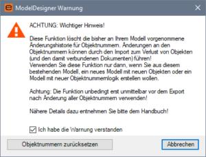 Screenshot ModelDesigner Objektnummerhistorie löschen - Warnung