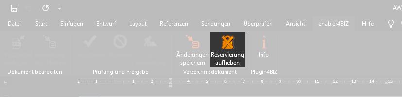 Screenshot Reservierung aufheben im Plugin4BIZ Menü