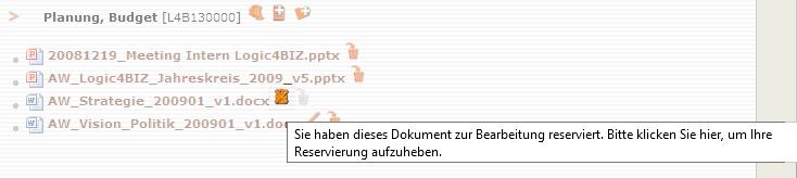 Screenshot mit reserviertem Verzeichnisdokument