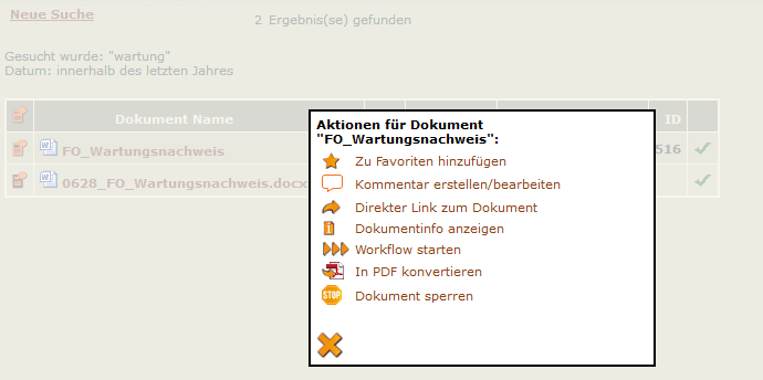 Screenshot Aktionen-Menü im Suchergebnis
