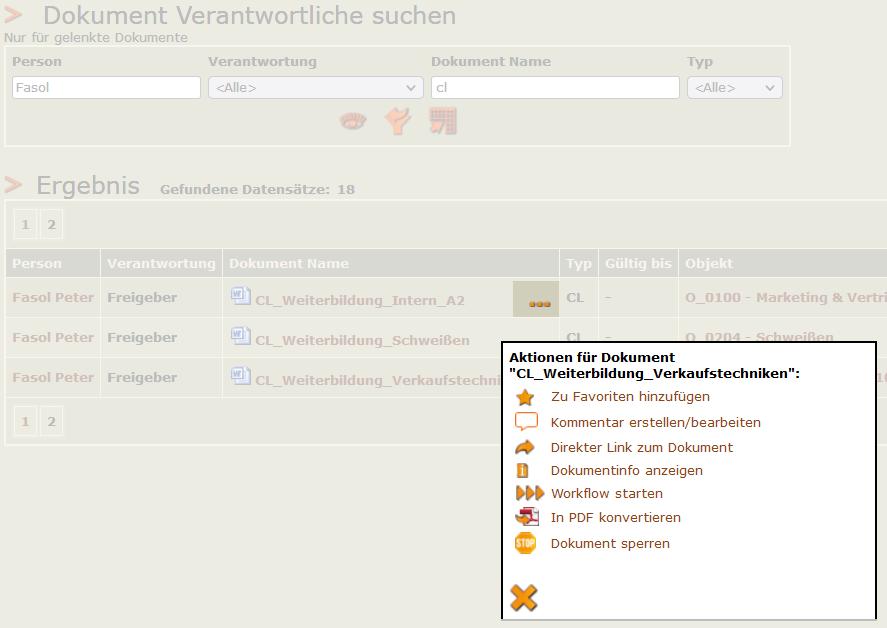 Screenshot Aktionenmenü in der Dokument Verantwortlichen Suche
